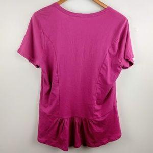 Anthropologie Tops - NWT Anthro Maeve Pink Purple Ruffled Peplum Tee L